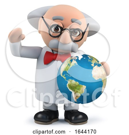 3d Scientist Holding a Globe of the Earth by Steve Young