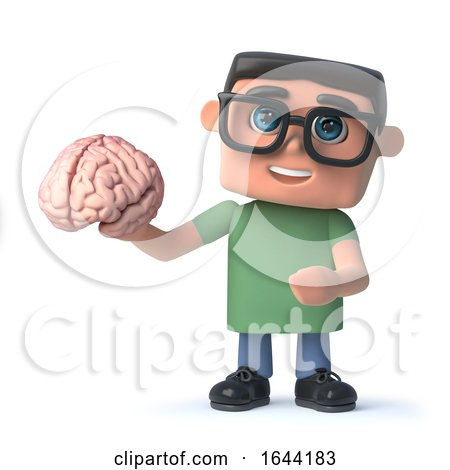 3d Funny Cartoon Hacker Nerd Character Holding a Human Brain by Steve Young
