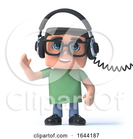 3d Boy in Glasses Listens to His Headphones by Steve Young
