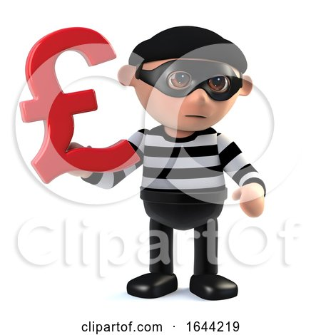 3d Burglar Has UK Pounds Sterling Currency Symbol by Steve Young