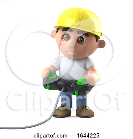 3d Construction Worker Playing a Video Game Posters, Art Prints