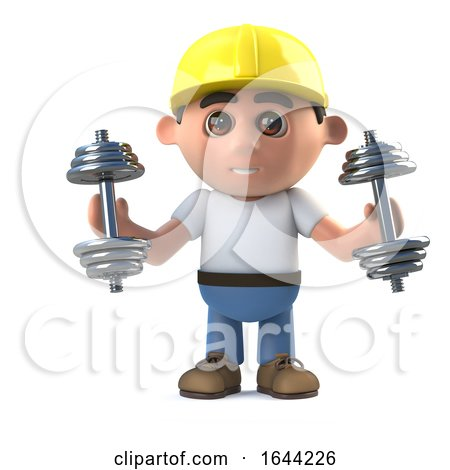 3d Construction Worker Exercises with Weights Posters, Art Prints
