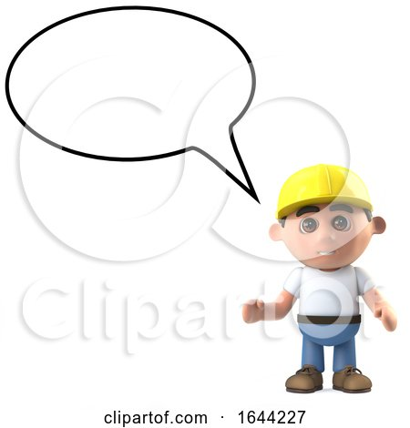3d Construction Worker with Blank Speech Bubble Posters, Art Prints