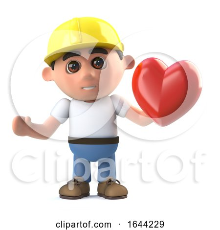 3d Construction Worker Has a Heart by Steve Young