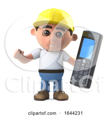 3d Construction Worker with Cell Phone Posters, Art Prints