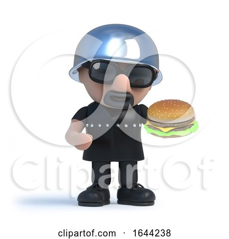 3d Biker Eating a Burger by Steve Young