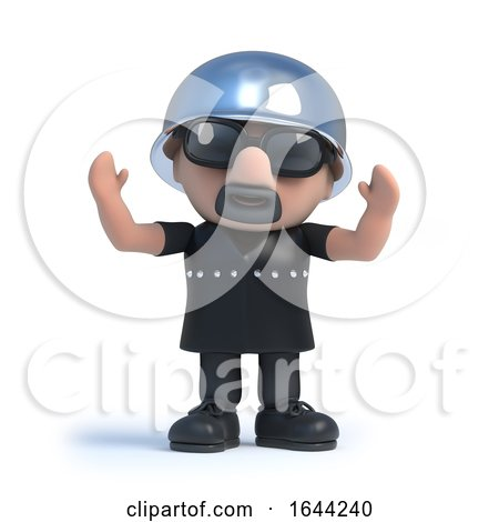 3d Biker Raises His Arms in the Air by Steve Young