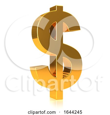 3d Gold USA Dollar Currency Symbol by Steve Young