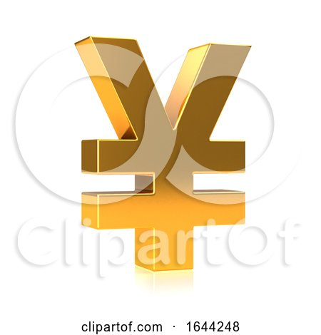3d Gold Japanese Yen Currency Symbol by Steve Young