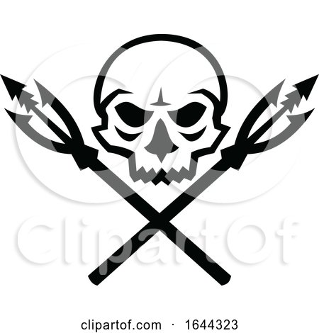 Skull-crossed-fishing-spear-fish-hook-ICON Posters, Art Prints