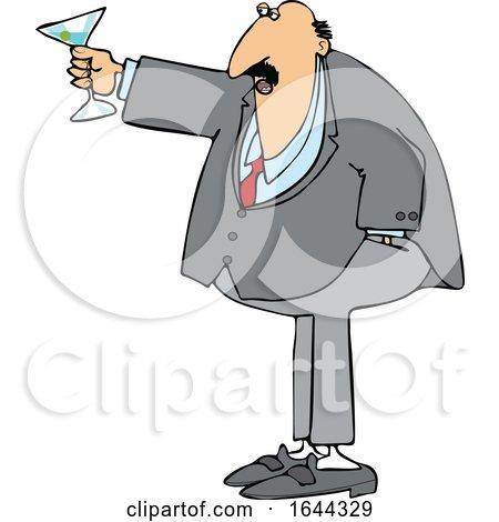 Cartoon Chubby White Businessman Toasting by djart