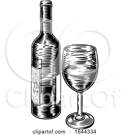 Wine Bottle and Glass Vintage Woodcut Etching by AtStockIllustration