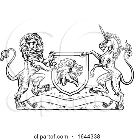 Coat of Arms Heraldic Lion and Unicorn Shield by AtStockIllustration