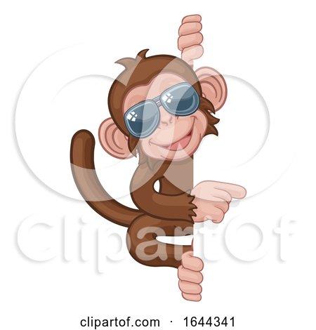 Monkey Sunglasses Cartoon Animal Pointing at Sign by AtStockIllustration