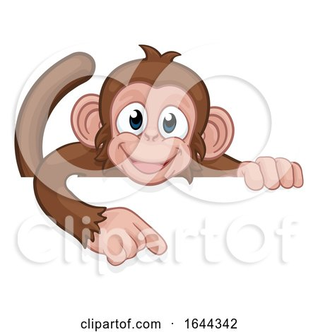 Monkey Cartoon Character Animal Pointing at Sign by AtStockIllustration