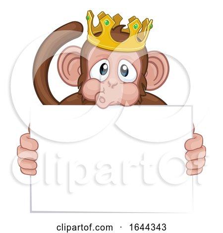 Monkey King Crown Cartoon Animal Holding Sign by AtStockIllustration