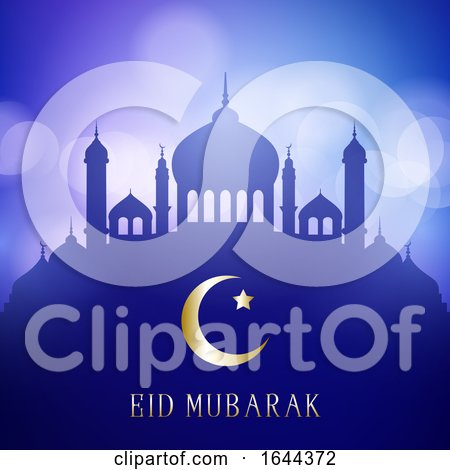 Decorative Eid Mubarak Background with Mosque Silhouettes on a Bokeh Lights Design by KJ Pargeter