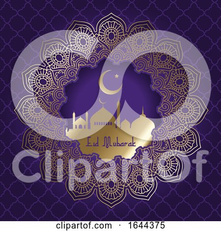 Decorative Eid Mubarak Background with Mosque Silhouette by KJ Pargeter