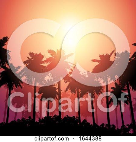 Palm Tree Landscape Against Sunset Sky by KJ Pargeter