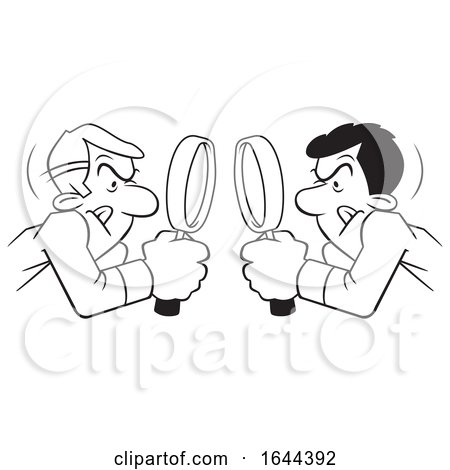 Cartoon Black and White Men Looking at Each Other Throgh Magnifying Glasses by Johnny Sajem
