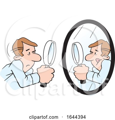 Cartoon White Man Doing a Self Examination with a Mirror and Magnifying Glass by Johnny Sajem