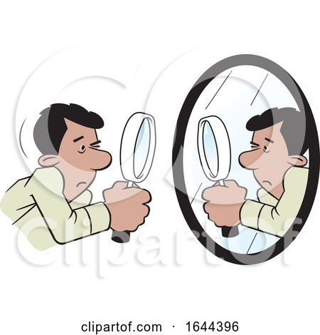 Cartoon Hispanic Man Doing a Self Examination with a Mirror and Magnifying Glass by Johnny Sajem