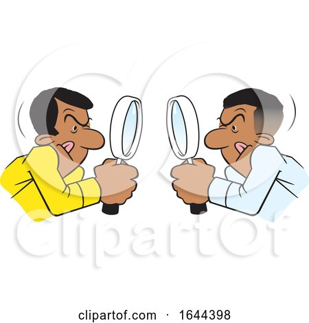 Cartoon Black Men Looking at Each Other Throgh Magnifying Glasses by Johnny Sajem