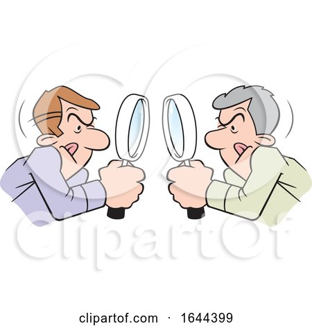 Cartoon White Men Looking at Each Other Throgh Magnifying Glasses by Johnny Sajem