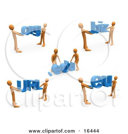 Orange People Carrying Dot Org, Edu, Biz, URL, and Eu Clipart Illustration Graphic by 3poD
