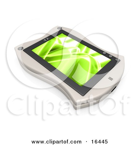 White Handheld Organizer With a Green Screen Saver  Posters, Art Prints