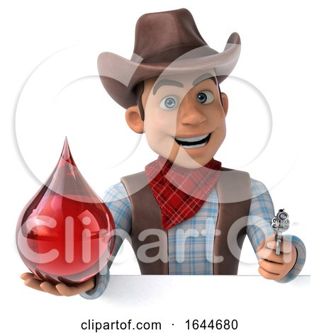 3d Cowboy, on a White Background by Julos