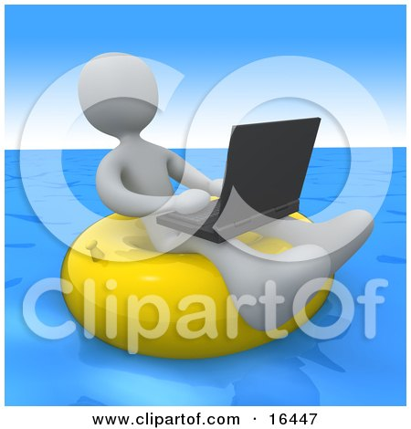 White Person, A Workaholic, Floating On A Yellow Inner Tube In The Ocean While Typing On A Laptop Computer Clipart Illustration Graphic by 3poD
