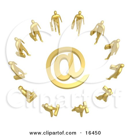 Group Of Gold Businesspeople Surrounding A Golden At Symbol  Posters, Art Prints