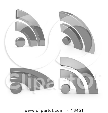 Four Silver Blog Symbols Over a White Background Clipart Illustration Graphic by 3poD