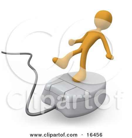 Orange Person Trying To Maintain His Balance While Riding On A White Computer Mouse And Surfing The Internet  Posters, Art Prints