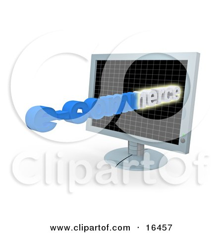 E-Commerce Text Popping Out Of A Flat Screen Computer Monitor  Posters, Art Prints