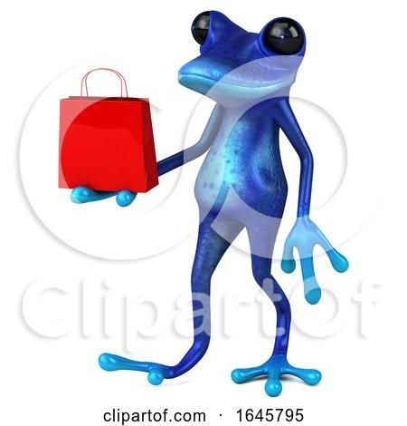 3d Blue Springer Frog, on a White Background by Julos