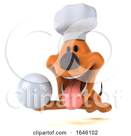 3d Puppy Dog Chef, on a White Background by Julos