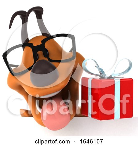 3d Orange Dog, on a White Background by Julos