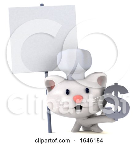 3d White Kitten Chef, on a White Background by Julos
