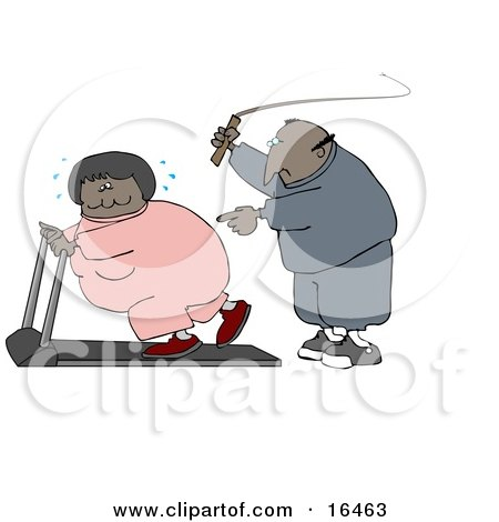 African American Man In Sweats, Swinging A Whip While Telling His Blond Wife To Keep Exercising On A Treadmill  Posters, Art Prints