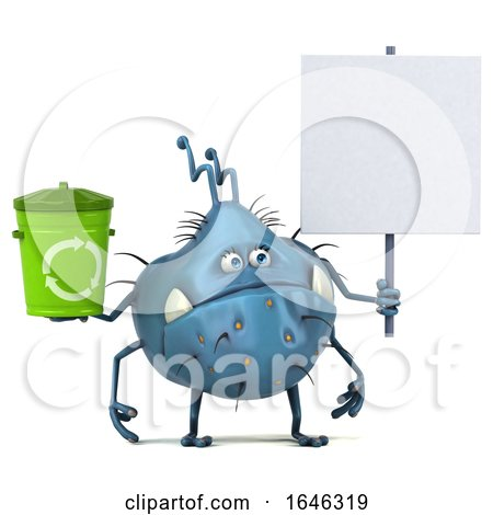 3d Blue Germ Monster, on a White Background by Julos