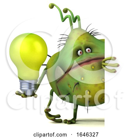 3d Green Germ Monster, on a White Background by Julos