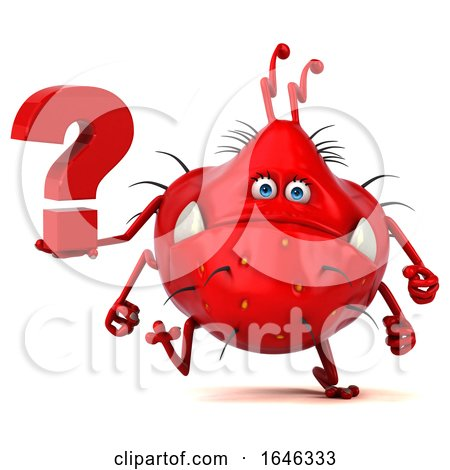 3d Red Germ Monster, on a White Background by Julos