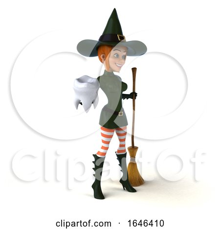 3d Sexy Green Witch Holding a Tooth, on a White Background by Julos