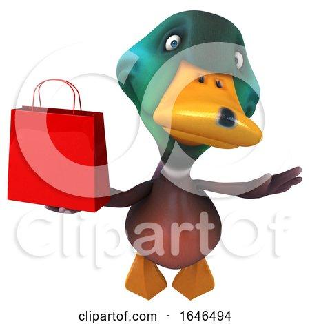 3d Mallard Drake Duck, on a White Background by Julos