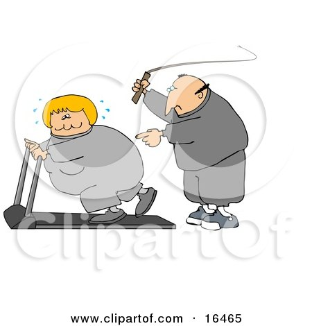 Caucasian Man In Sweats, Swinging A Whip While Telling His Blond Wife To Keep Exercising On A Treadmill Clipart Illustration Graphic by djart