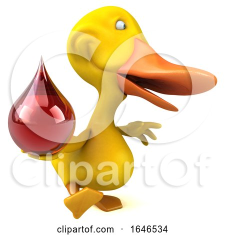 3d Yellow Duck, on a White Background by Julos