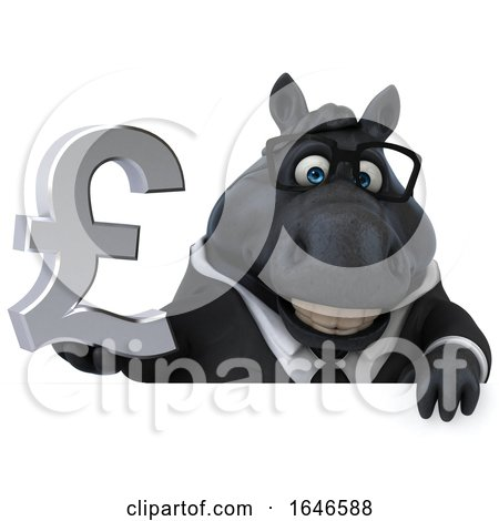 3d Chubby Black Business Horse, on a White Background by Julos