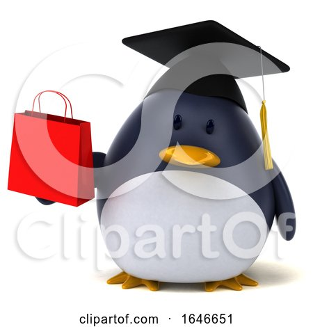 3d Penguin Graduate, on a White Background by Julos